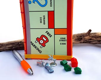 Monopoly Notebook - Free Parking - Re-purposed/Upcycled