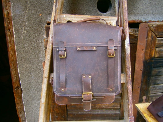 15 inch Laptop Vertical Briefcase,Lucky Double compartimented Vintage leather Handmade bag, Messenger Bag,