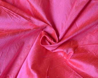 Silk Dupioni in Fuschia Pink with red  shimmers,Fat Quarter, D - 326