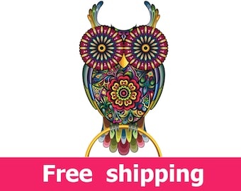 abstract owl wall sticker, colorful owl wall decal decor, owl wall sticker removable vinyl bird animal nature cartoon owls wall art [FL051]