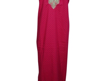 Dreaming Red Maxi Caftan Short Sleeve Round Neck Cotton Comfy Nightwear House Dress Long Kaftan L