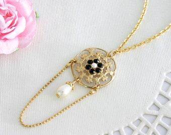 Black gold pendant necklace, Chandelier necklace gold, Black gold necklace, Flower pendant necklace gold