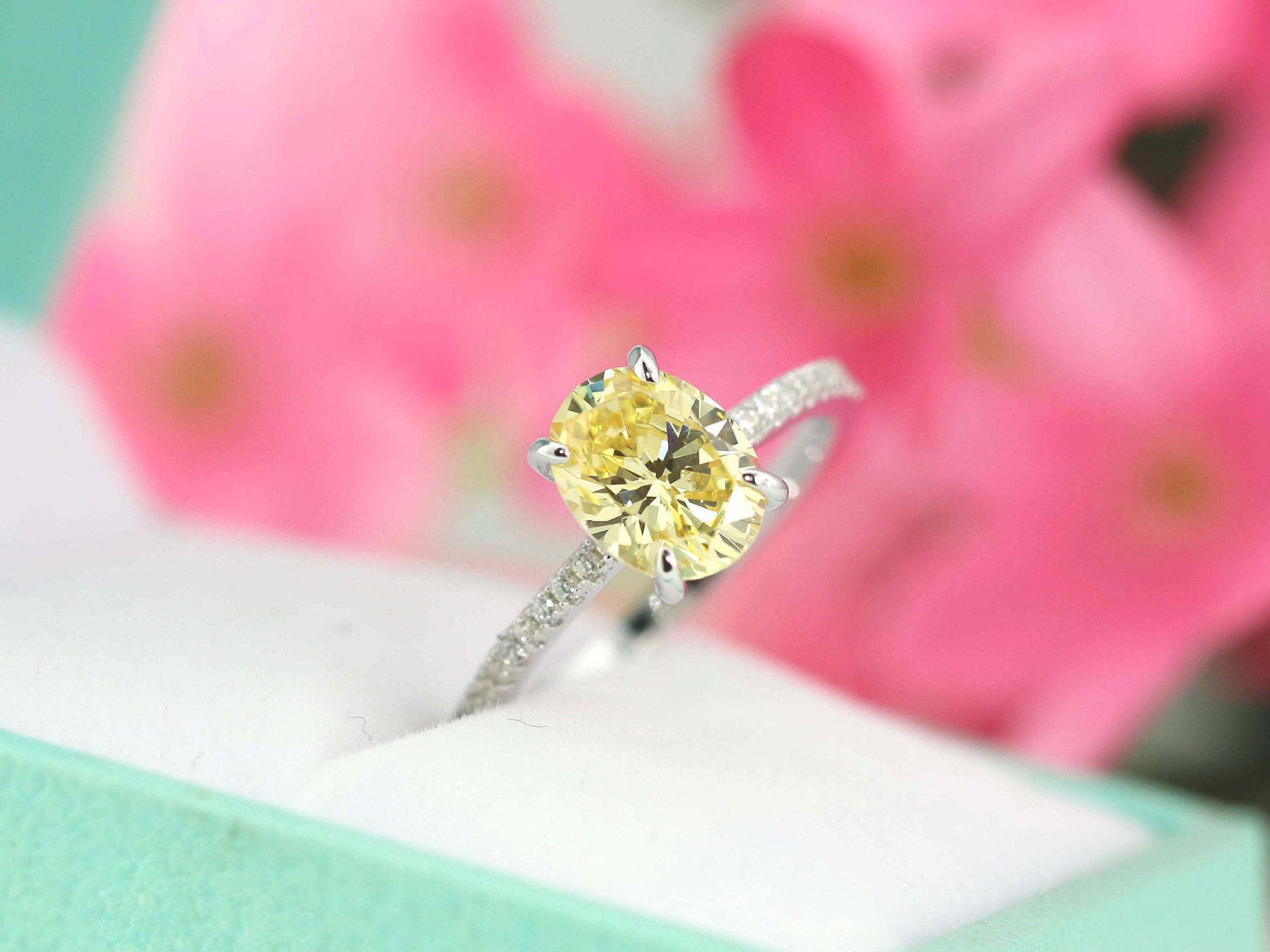 2.2ct tw Light Canary Yellow Engagement Ring Classic Oval