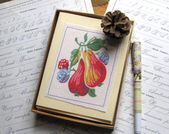 Vintage tablecloth note cards, Fruit Print Cards, 1950's, unique note cards from Recycled Vintage Linen, OOAK Housewarming Gift, NB66