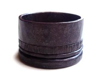 Darkly Rustic Rings - 4 Stacked Rings - Sterling Silver Rings - Four Hammered Rings - Rustic Rings - Rugged Rings - Black Rings - Mens Rings
