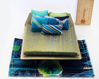 Textile Set for 1:12 scale dollhouse - Blue Hawaii Collection
