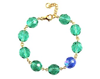 SALE Green Statement Bracelet, Statement Bracelet, Green Bracelet, Blue Statement Bracelet, Blue Bracelet, Glass Bracelet, Statement Jewelry