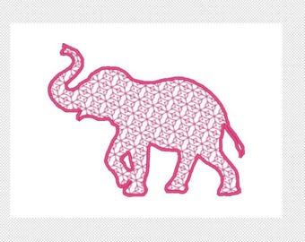 Elefant Stickerei Design - Motiv füllen mit Satinrand - herunterladen mehrere Formate - ein oder zwei Farbe Design -4 Größen - sofort