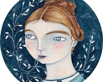 "MarmeeCraft blue girl art print, ""The Evening Star"""