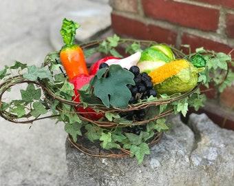 Wire Basket Vine Basket Vintage Basket Fruit Basket