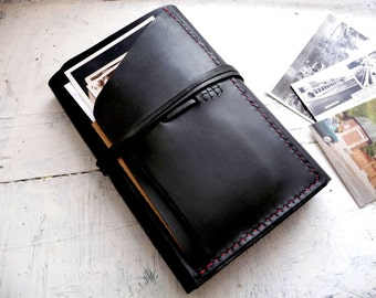 Large moleskine cover. Moleskine leather case. Travel journal cover. Notebook cover. Black leather