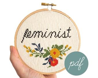 Feminist, Modern Cross Stitch Pattern *PDF Only