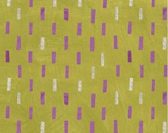 Dreamer by Carrie Bloomston for Windham Fabrics - Full or Half Yard Modern Purple and Pink Dashes on Bright Green