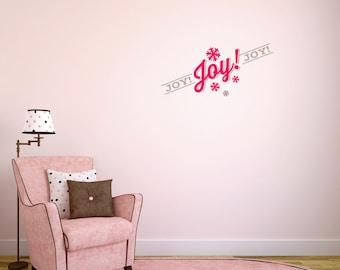 """Christmas: """"Joy, Joy, Joy"""" Wall Decal"""