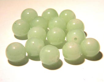 "10 glass beads ""jade"" 10 mm - Green - water Pearl glass 10 mm - glass bead - 3 K75"