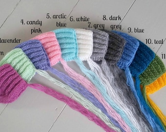 Set of 12 twelve knit baby ribbed bonnets in selection of colours, knitted hat for newborn, photo prop