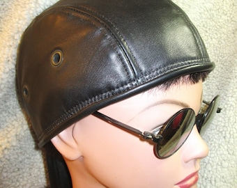 Black Lambskin Leather Bikers Skullcap/ Doorag Mens Womens Unisex Style, Pirate, Leather Pride