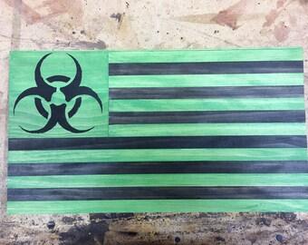 Zombie American Biohazard Rustic Wood Flag