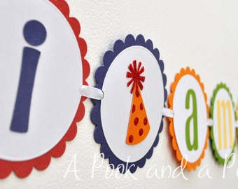 Happy Birthday Party Hat Primary Colors I am 1 First Birthday High Chair Banner Decoration
