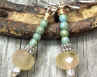 Beaded Earrings - Dangle Earrings - Drop Earrings - Boho Earrings - Boho Chic Earrings - Boho Style Earrings - Crystal Earrings