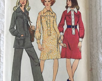 Vintage 1970s Simplicity 5134 *Size 16* Uncut Wide Collar Tunic Dress and Pants