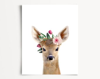 Deer with flower crown, PRINTABLE, The Crown Prints, Animal prints, Nursery wall decor, Baby girl decor, Unique baby gift, Woodland animals