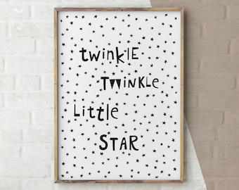 Nursery Rhyme Prints, Scandinavian art, nursery printable, Twinkle Twinkle Little Star, black and white art, kids room print, Nursery Rhyme