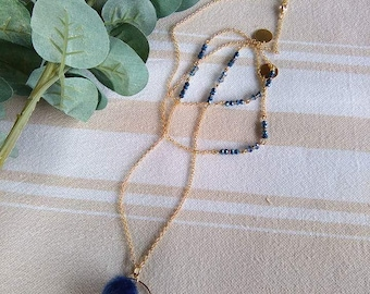 Blue and gold chain necklace