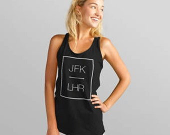 Custom Airport Code Travel Tank Top (Color Vintage Black)