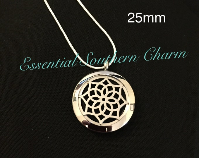 Essential Oil Diffuser Necklace Stainless Steel locket Sterling Silver Chain 25mm