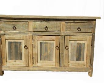 Rustic Turquoise Bathroom Vanity/ Buffet Cabinet