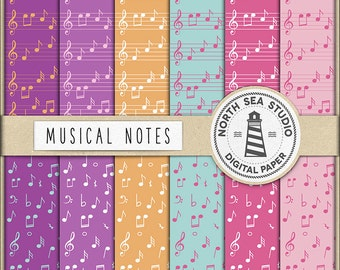 LALALA, Musical Notes Paper, Digital Paper, Colorful Music Paper, Music Sheets, Scrapbooking Backgrounds, Don't Forget Use Coupon Code!