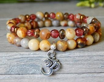 Om Bracelet, Yoga Bracelet, Yoga Jewelry, Mala Bracelet, Gemstone Bracelet, Agate Jewelry, Om Jewelry, Beaded Bracelet, Yoga