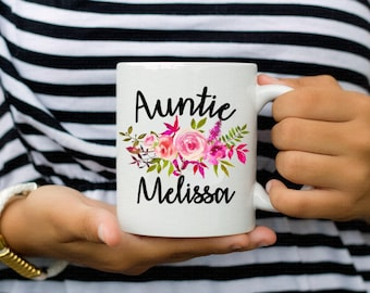 Aunt Auntie Personalized Floral Coffee Mug Cup Gift
