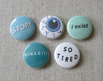 Tumblr Typography + eyeball 5 pack pinback buttons set