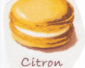 """Application textile """"Macaron"""" # Parfum Citron : Miam c'est beau !"""