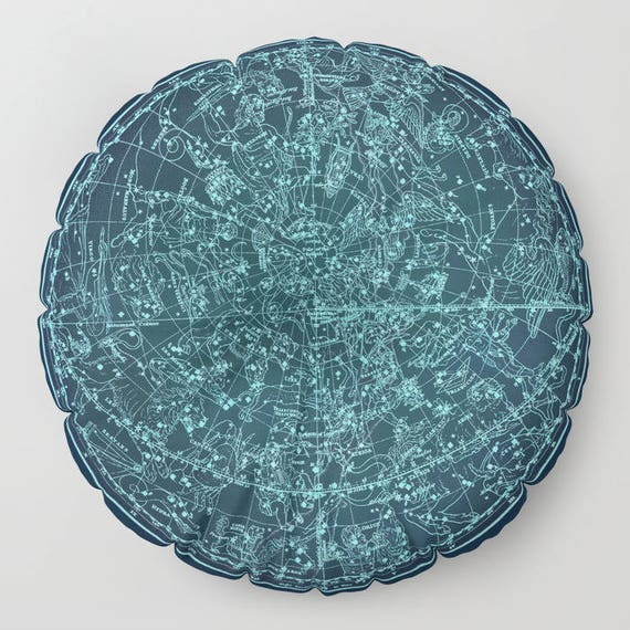 """Zodiac Star Map FLOOR Pillow, Round 26"""" and 30"""", Floor Cushion, Dorm,Teen Decor,Office,Home Statement Piece,Antique,Astrological Ancient Map"""