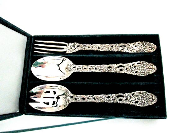 Neiman Marcus Wedding Gifts: Vintage Silver Plate Serving Utensils Slotted Spoon Serving