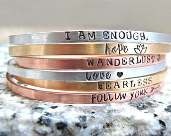 Custom Stacking Bracelets, Personalized Bracelets, Hand Stamped Bangle Bracelets, Personalized Layering Bracelets