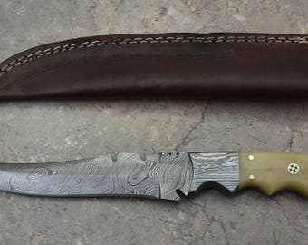 Damascus Steel Hunting Knife, Fillet Knife, Steak Knife with Bone Handle 596