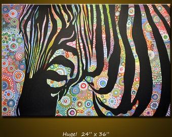 "Original Modern Animal Art Painting Large Abstract Zebra .... 24 x 36 ... ""Urban Jungle"", please see close ups"