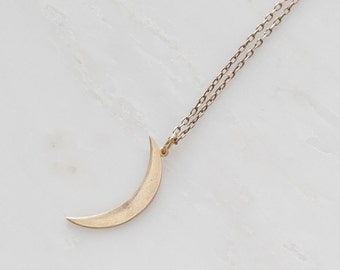 Minimalist Raw Brass Crescent Moon Pendant