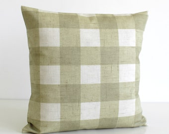 Shabby Chic Pillow Cover, Gingham Cushion Cover, Shabby Chic Pillow Sham, Throw Pillow, Toss Pillow Cover - Gingham Sage