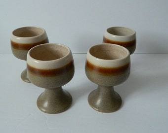 Set of 4 1970s Stoneware Pottery Goblets Made in Canada