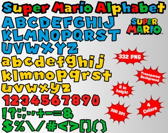 Super Mario Alphabet, Numbers and Symbols | 332 PNG | 300 dpi | Transparent Background | 4 Colors | Super Mario Birthday Party