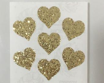 Vintage Sandylion Gold Glitter Heart Stickers
