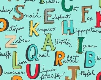 Alphabet Words in Turquoise - Animal Lab - Windham Fabrics - 1 Yard