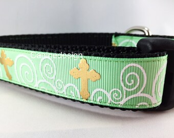 Easter Dog Collar, Crosses, 1 inch wide, adjustable, quick release, metal buckle, chain, martingale, hybrid, nylon