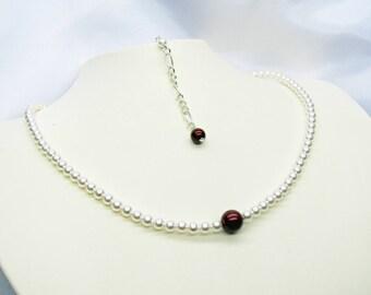 Wedding necklace wedding swarovski Pearl necklace, Burgundy and white necklace, wedding, wedding bracelet set, earrings