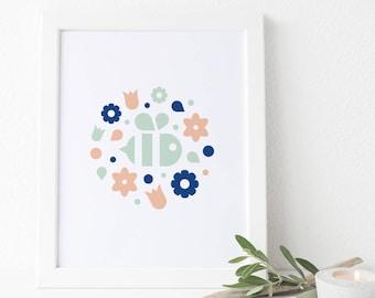 Spring Bee Floral Wreath - Art Print (baby, nursery, bumblebee wall art and decor)